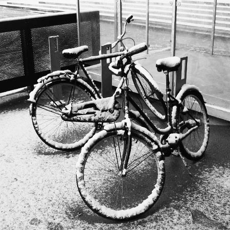 Snowy Bicycles at Alsion