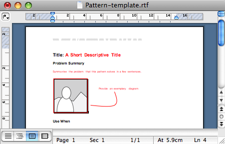 Design pattern template in rtf format.